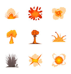 Different explosion icons set cartoon style vector