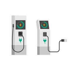 Electric car charger flat vector