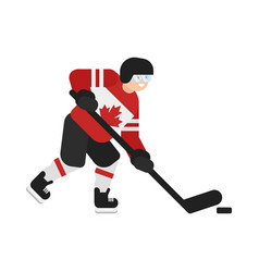 Flat style of canadian hockey player vector