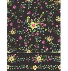 Floral Seamless pattern bordersFlowers bouquet vector image