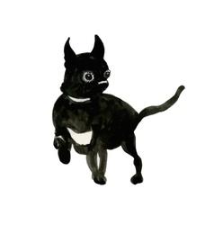 French Bulldog muzzle dark vector image