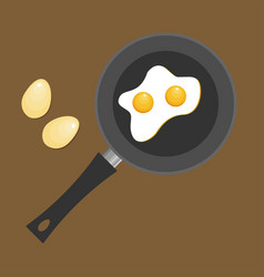 Fried egg in a frying pan fried egg flat icon vector