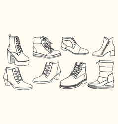 Hand drawn set of shoes vector