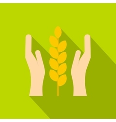 Hands and ear of wheat icon flat style vector image vector image