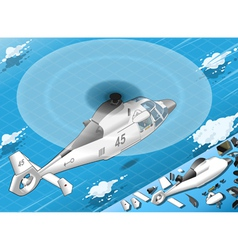 Isometric white helicopter in flight in rear view vector