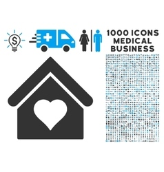 Love house icon with 1000 medical business symbols vector