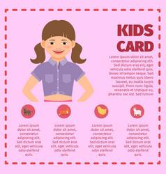 Pink kids garden card infographic vector
