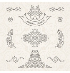 Set classic calligraphic design vector