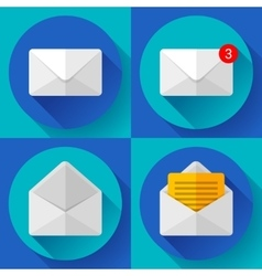 Set mail icon open envelope new letter message vector