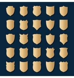 Set of gold shields on blue background vector image