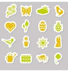 spring stickers vector image