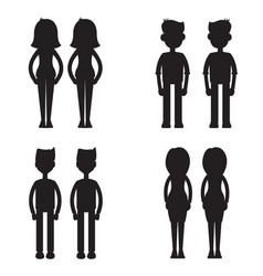 twins together silhouette set vector image vector image