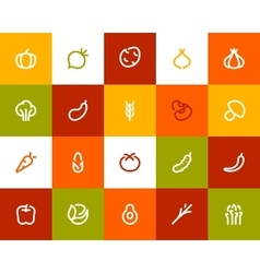 Vegetable icons flat style vector