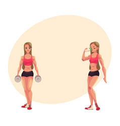 Woman bodybuilder holding dumbbells and drinking vector