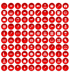 100 case icons set red vector