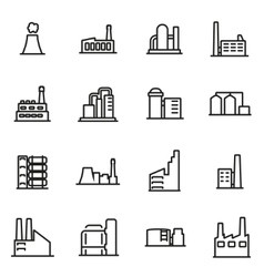 Line factory icon set vector