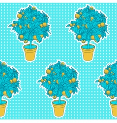 Seamless pattern of small tangerine tree in a pot vector
