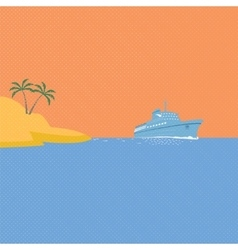 Cruise ship tropical island and blue ocean vector