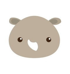 Cute rhino isolated icon vector