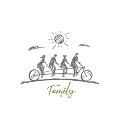 Hand drawn family of four members riding bicycle vector