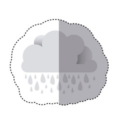 color sticker of cloud with rain vector image