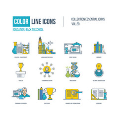 Color icons school equipment language school vector