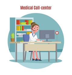 Emergency call center concept vector