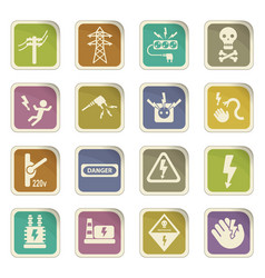 High voltage web icons vector