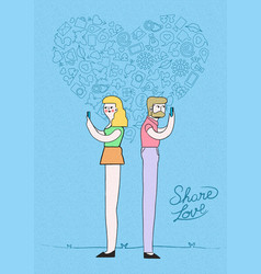 Man and woman online meeting love concept design vector