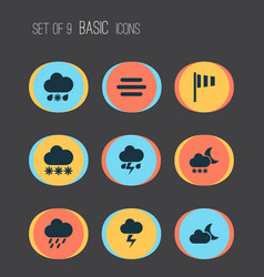 Climate icons set collection of haze flash vector