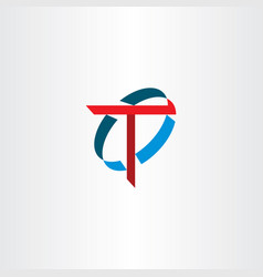 Letter t sign logo symbol red blue icon vector