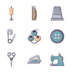 Tailor equipment icons set flat style vector