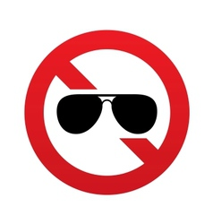 No aviator sunglasses sign pilot glasses button vector