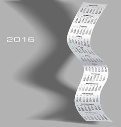 2016 tall wavy calendar vector