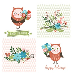 Holiday clip art cute owls vector