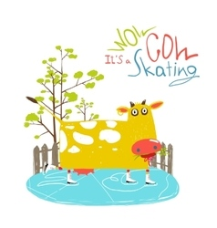 Colorful fun cartoon ice skating cow for kids vector