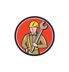 Construction worker spanner circle cartoon vector