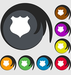 Shield icon sign symbols on eight colored buttons vector