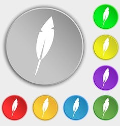 Feather sign icon retro pen symbo symbols on eight vector