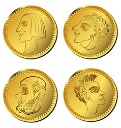 Greek gold coins vector
