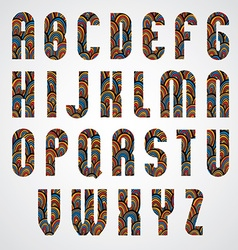 Pattern ornamental colorful abstract font upper vector