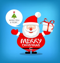 Santa claus merry christmas message with gift box vector image