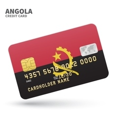 Credit card with angola flag background for bank vector