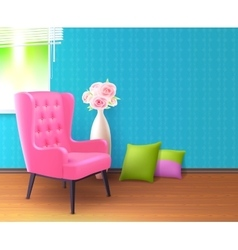 Pink Chair Realistic Interior Poster vector image
