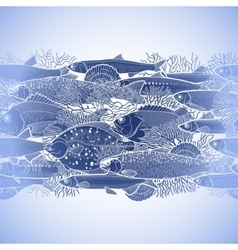 Graphic ocean fish border vector