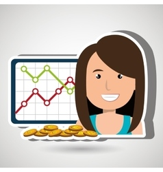 Woman with statistics graphic and coins isolated vector