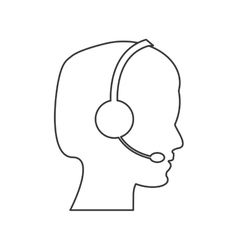 Male person with headset icon vector