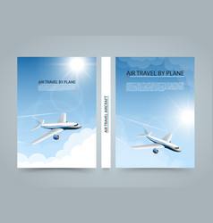 Air travel by plane modern airplane banners vector