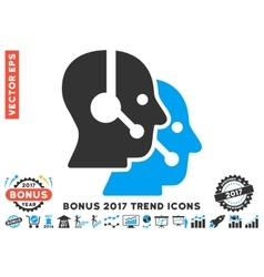 Call center operators flat icon with 2017 bonus vector