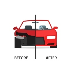 Car body frame repair service crushed and vector
